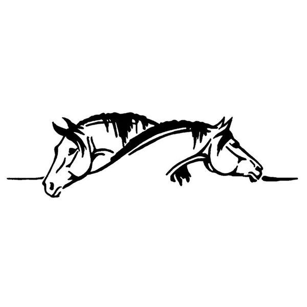 15_4_5CM cool Two Horses Graphical Car Sticker And Decal Funny Animal